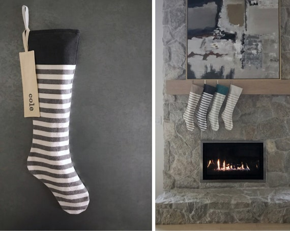 Almost Black & White Striped Christmas Stocking, Personalized Embroidered Name on Cuff or Monogram Initial, Neutral Grey Natural Green Teal
