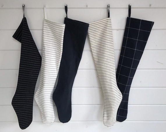 Dark Midnight Blue & White Striped Long Farmhouse Christmas Stocking, Personalized Stocking, Navy Blue Modern Scandinavian Holiday, Nordic