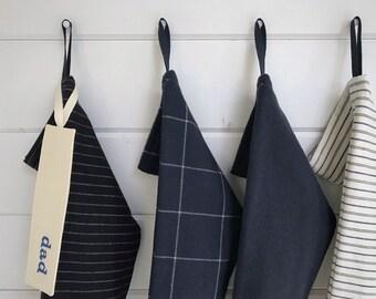 Dark Midnight Blue & White Striped Long Farmhouse Christmas Stocking, Personalized Stocking, Navy Blue Modern Scandinavian Holiday, Nordic