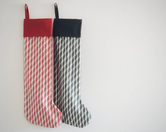 Striped Christmas Stocking Striped, Modern, Family Christmas Stockings Family, Red Black White, Boy Girl Kids, Classic All Ages, Little Cuff