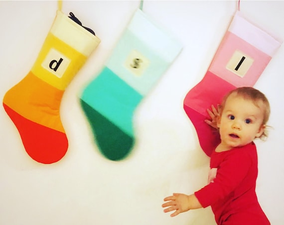 Personalized Christmas Stocking Personalized Modern Striped Colorblock Personalized Stocking Monogram Name Color Block Girl Boy Wonderland