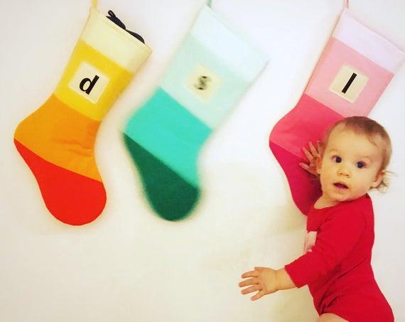 Personalized Christmas Stocking Personalized Modern Striped Colorblock Personalized Stocking Monogram Color Block Girl Boy Wonderland Purple