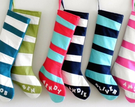 Personalized Christmas Stocking Personalized Stocking, Kids Girls Boys Family Stockings, Modern Wonky Striped Stocking Inspired by Dr Seuss