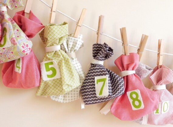 Scandi Bags Advent Calendar - Scandinavian Christmas Countdown Calendar, Garland, Bags, Decoration, Holiday Decor, ORIGINAL VARIED