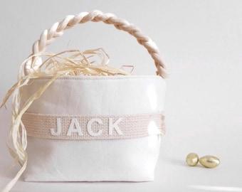 PRE-ORDER: Personalized Easter Basket - Small, Large - Boy Girl, Monogram Name Egg Hunt Spring Home Decor Decoration 14 Colors/Natural Shown