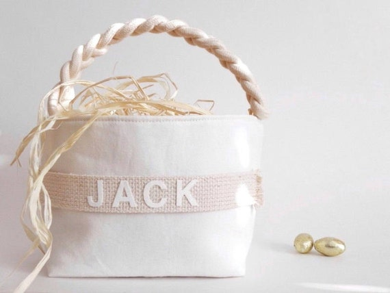 Soft Natural Personalized Easter Basket, Simple Modern Spring Basket, Handle & Monogram Name, Large Small, Neutral Fabric, Boy Girl Egg Hunt