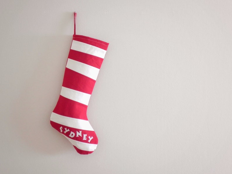 Personalized Christmas Stocking Personalized Stocking Kids Stockings Family Stockings Modern Wonky Striped Boy Girl Inspired By Dr Seuss