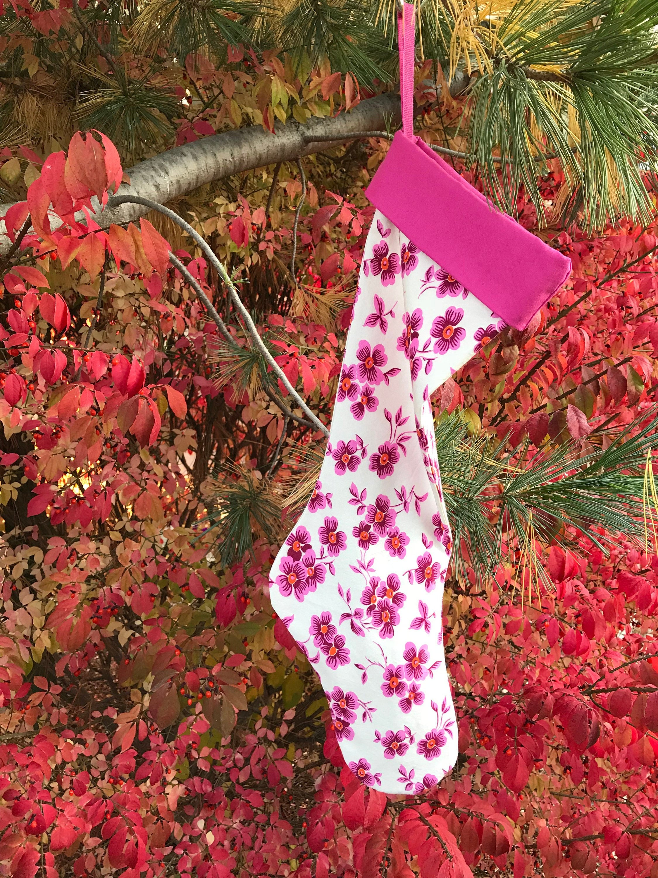 Wine & White Striped Holiday Stocking, New Old Fashioned Christmas ...