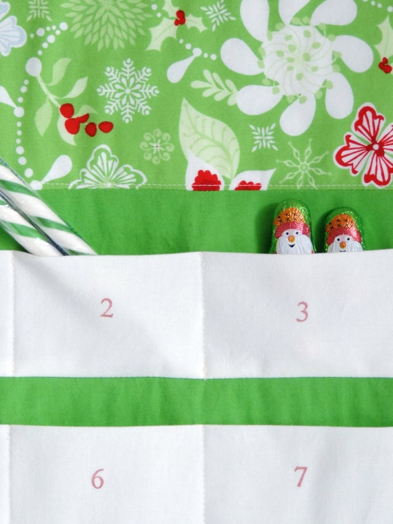 Christmas Advent Calendar, Midwinter Solstice Christmas Countdown Calendar, Fabric Wall Hanging, 24 Pocket Holiday Decor, in Cream or Green