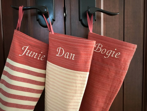 Scandinavian Christmas Stocking, Personalised Stocking, Long Modern Red Striped Monogrammed Holiday Stocking, Embroidered Names, Nordic Cuff