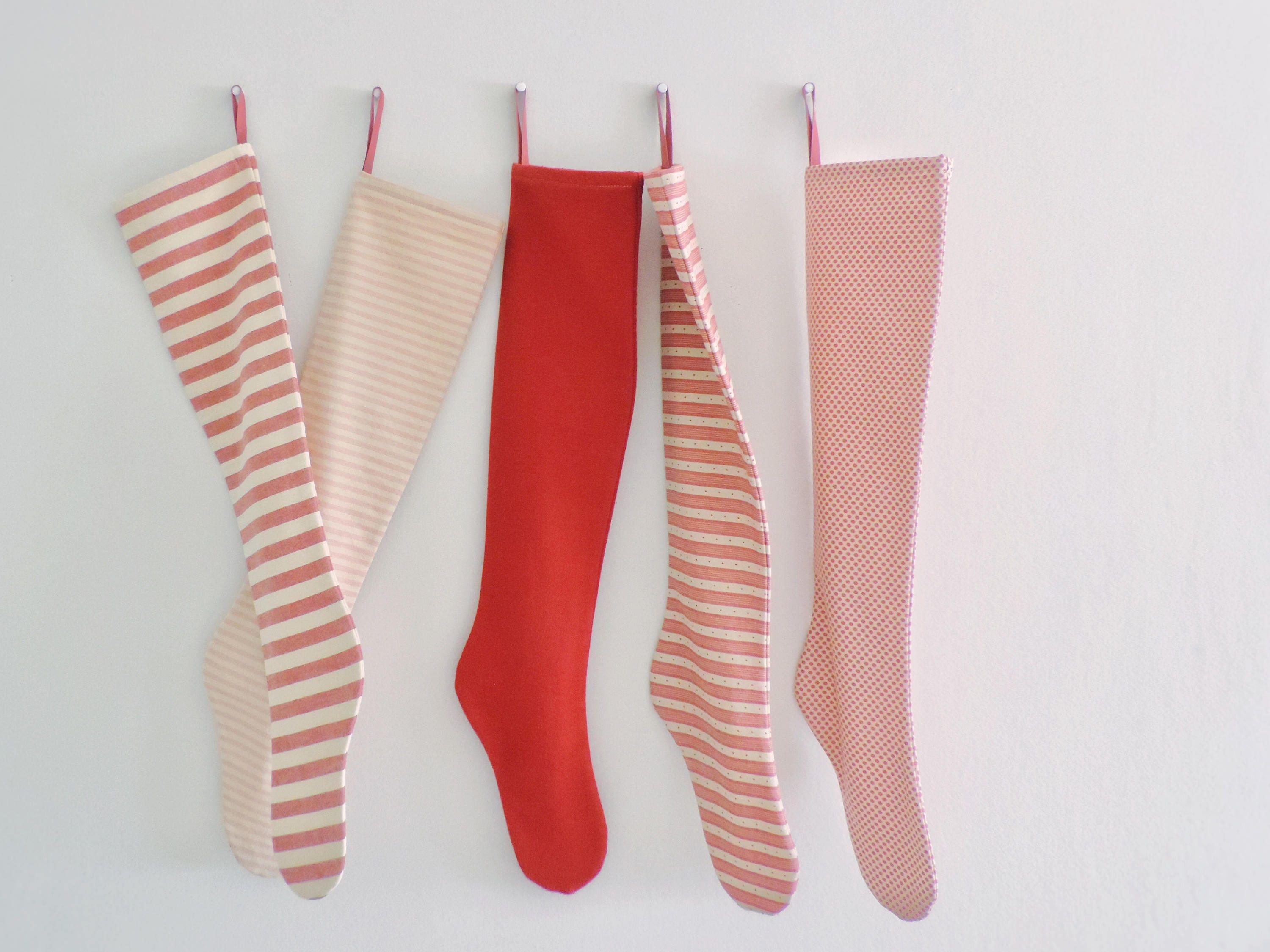 christmas stocking personalized modern scandinavian red striped personalized christmas stocking family holiday stockings long decoration - Striped Christmas Stockings