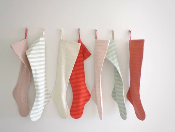 Scandinavian Christmas Stocking Personalized Christmas Stocking, Boy Girl Family, Long Modern Red Green Blue Striped Plaid, Nordic Snow