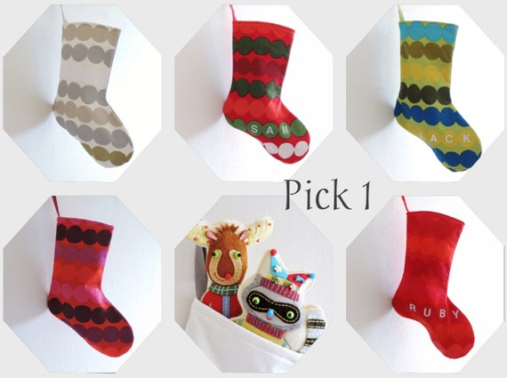 Pick a Color - 1 CINDY LOU Christmas Stocking, Small Scandinavian Marimekko Boy Girl, Dr Seuss Holiday Decor, Dots Red White Blue Green Gold