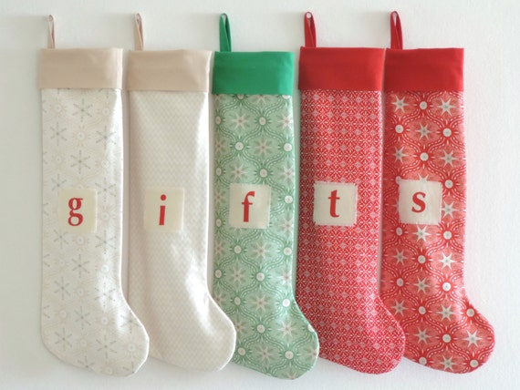 Christmas Stocking Personalized Christmas Stocking, Stars Family Stockings, Modern, Ivory Red Green Boy Girl Holiday Stocking, Little Cuff