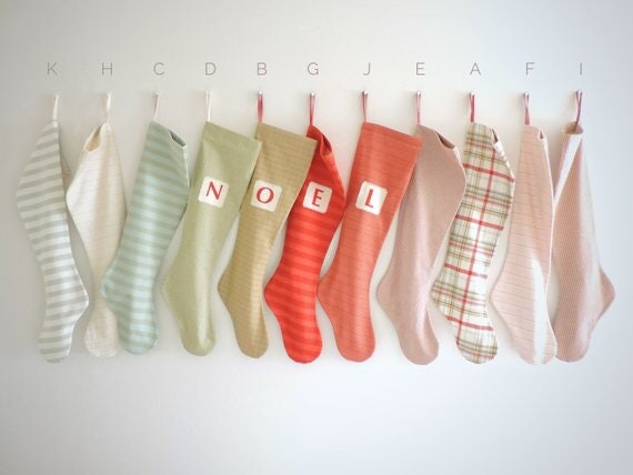 RESERVED FOR LIAN: Custom Order for Five Nordic Snow Stockings with Five Custom Name Tags