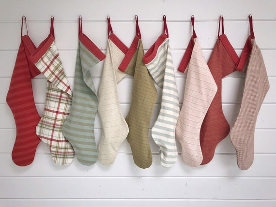 Scandinavian Christmas Stocking, Personalized Long Nordic Holiday Stocking,  Modern Farmhouse Stripes & Plaid for Boys Girls Kids, Red Brim