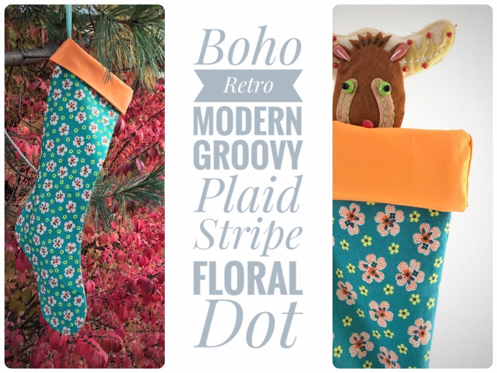 Turquoise Flowered Holiday Stocking, Modern Orange Floral Christmas ...