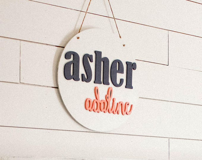 "16"" CUSTOM ROUND WOOD Name Sign / Ships in 3-5 Business Days / Nursery Decor"