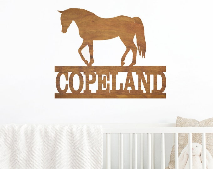 Horse Name Sign - Wooden Name Sign - Door Hanger - Housewarming Gift - Personalized Name Sign - Equestrian - Horse Rider - Barn Decor - Pony