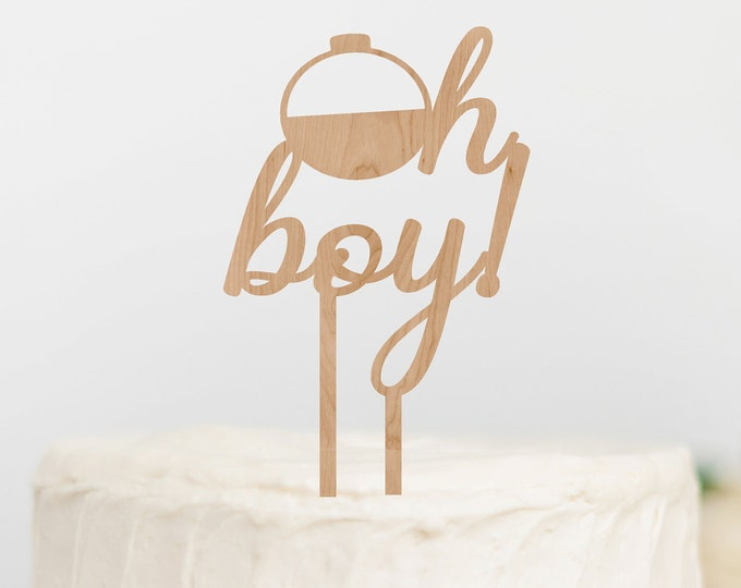 OH BOY Fishing Bobber BABY Shower Topper / Gender Reveal Cake Topper / Gender Reveal Decor / Baby shower cake topper / Wood Cake Topper