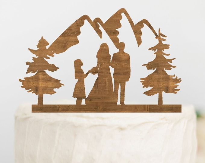 BRIDE GROOM GIRL Family Mountain Wood Wedding Cake Topper / outdoor bride groom cake topper / Mountain Cake Topper