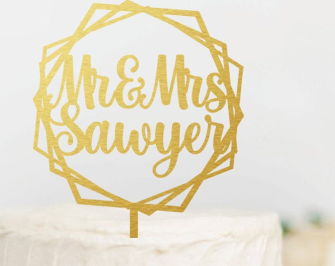 MR MRS NAME Wedding Wood Cake Topper Geometric Hexagon Gold Wedding Cake Topper Rose Gold Topper Gold Topper