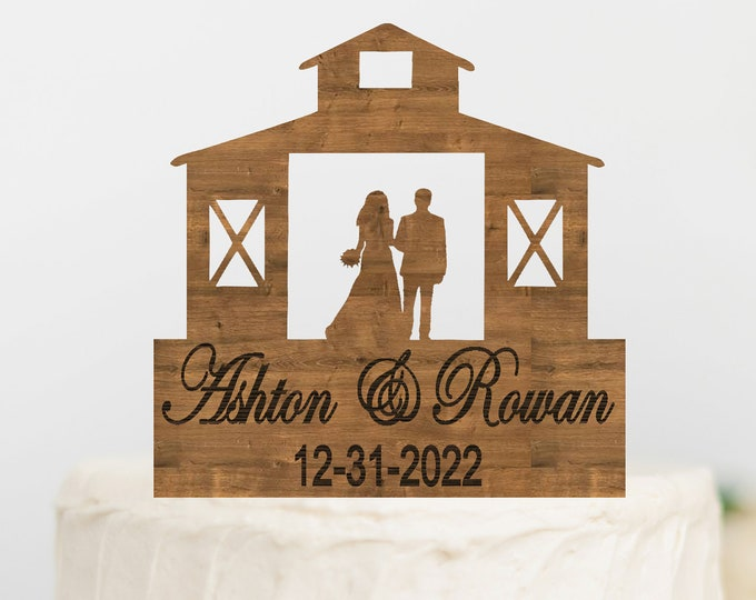 CUSTOM Name BRIDE GROOM Couple Barn Wood Wedding Cake Topper / Rustic Barn Wedding bride groom cake topper / Wedding cake topper