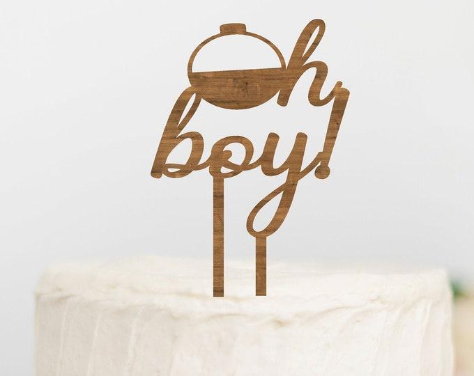 OH BOY Fishing Bobber BABY Shower Topper / Gender Reveal Cake Topper / Gender Reveal Decor / Baby shower cake topper / Wood Cake Topper