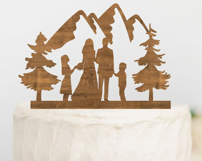 BRIDE GROOM BOY Girl Family Mountain Wood Wedding Cake Topper / outdoor bride groom cake topper / Mountain Cake Topper