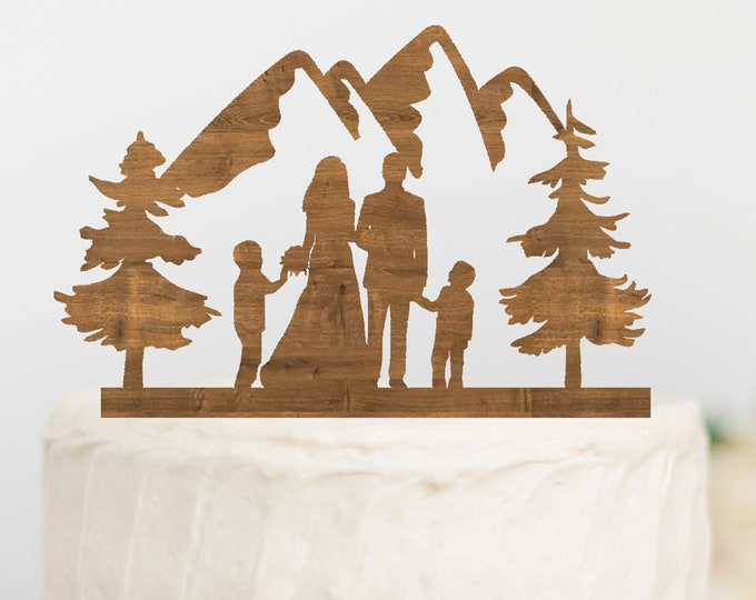 BRIDE GROOM with BOYS Family Mountain Wood Wedding Cake Topper / outdoor bride groom cake topper / Mountain Cake Topper