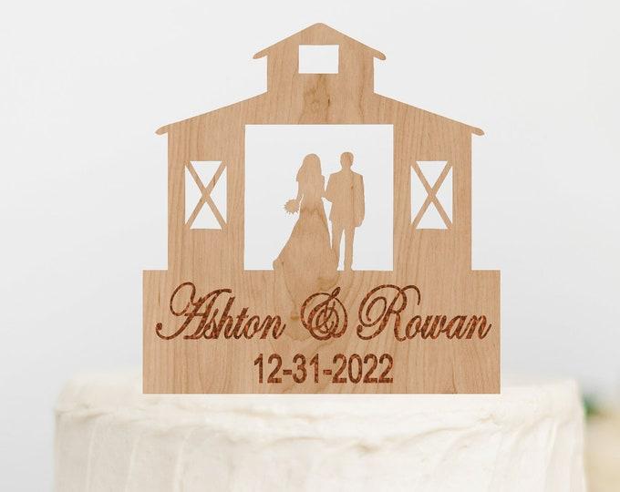 CUSTOM Name BRIDE GROOM Couple Barn Wood Wedding Cake Topper / Rustic Barn Wedding bride groom cake topper / Wedding cake topper