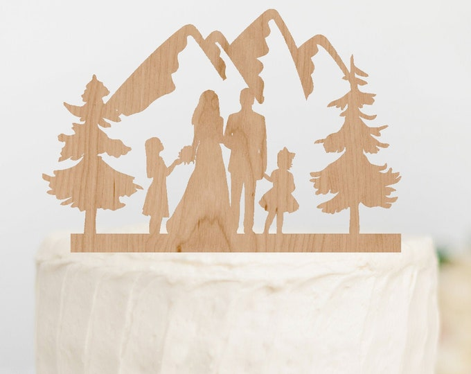 BRIDE GROOM with GIRLS Family Mountain Wood Wedding Cake Topper / outdoor bride groom cake topper / Mountain Cake Topper