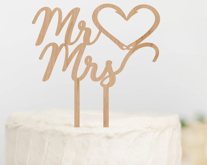FISHING WEDDING CAKE Topper Mr Mrs Cake Topper Fishing Hook Heart Cake Topper Outdoorsy Couple Cake Topper Grooms Cake Topper decoration