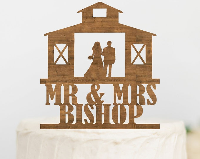 PERSONALIZED BRIDE and GROOM Barn Name Wood Wedding Cake Topper /  barn Wedding / bride groom cake topper / Outdoorys couple rustic wedding