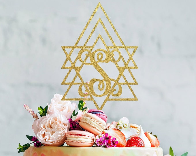 GEOMETRIC BOHO INITIAL Wood Wedding Cake Topper / Monogram Cake Topper / Bohemian Great Gatsby Topper