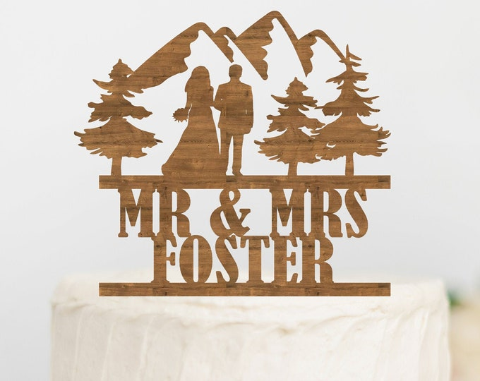 PERSONALIZED COUPLE Names MOUNTAIN Wood Wedding Cake Topper /  bride groom cake topper / Outdoorys couple / rustic wedding