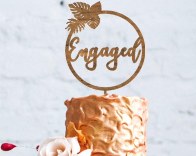 Engaged cake topper / Engagement cake topper / Beach Bachelorette Party / Tropical Engagement Party / Engagement party decorations and decor