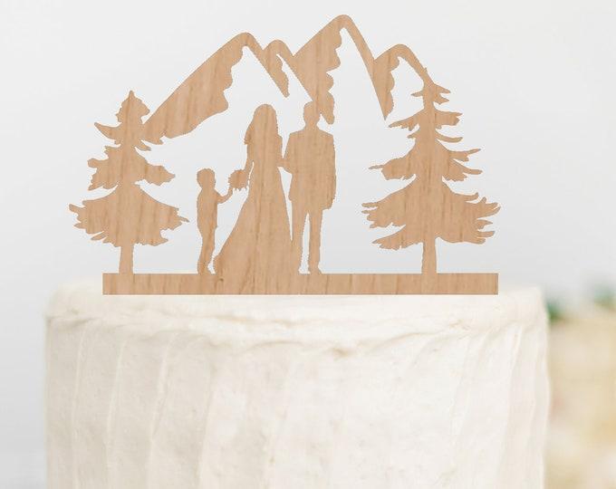BRIDE GROOM BOY Family Mountain Wood Wedding Cake Topper / outdoor bride groom cake topper / Mountain Cake Topper
