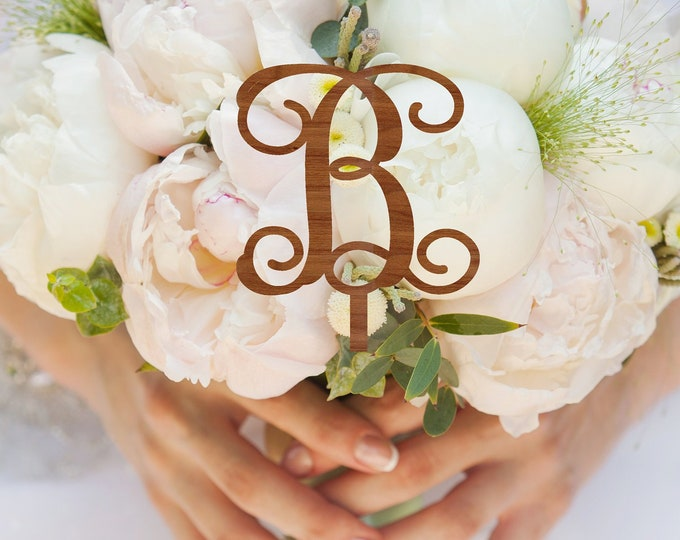 BRIDAL BOUQUET CHARM Initial Letter Skewer / Bouquet Charm / Personalized wedding bouquet medallion