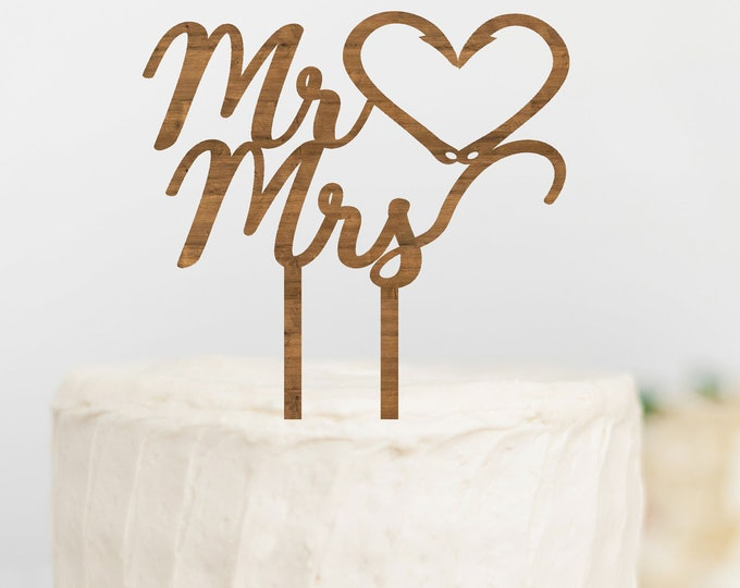 FISHING WEDDING CAKE Topper Mr Mrs Cake Topper Fishing Hook Heart Cake Topper Outdoorsy Couple Cake Topper