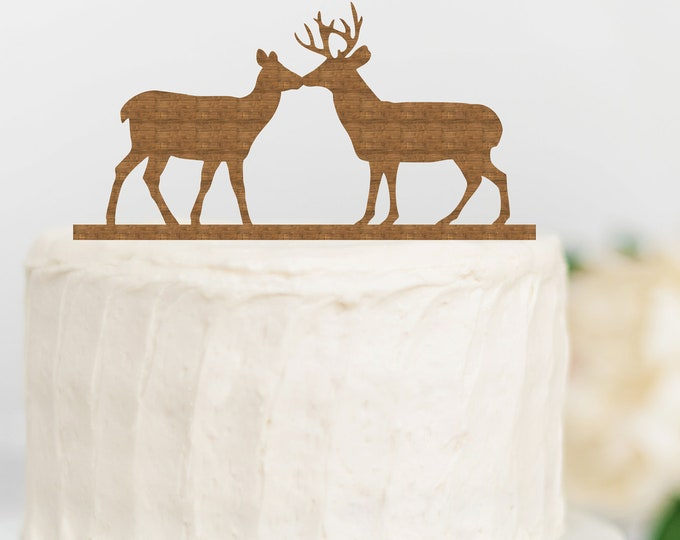 Kissing Deer Wood Wedding Cake Topper Hunting Cake topper / outdoor bride groom cake topper / camping cake topper / Outdoorsy Woods Couple