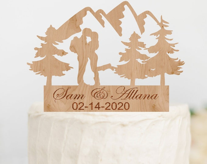 PERSONALIZED HIKING Couple Wood Wedding Cake Topper / Backpacking outdoor bride groom cake topper / camping cake topper