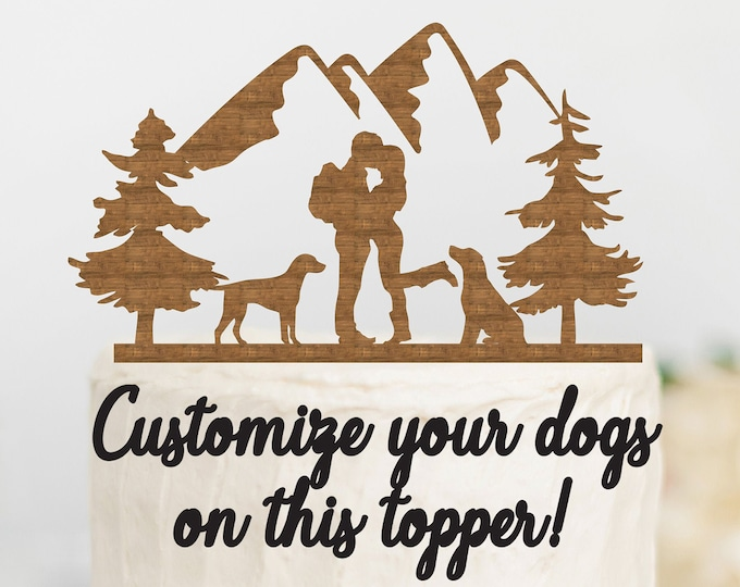 HIKING COUPLE with CUSTOMIZABLE Dogs Wood Wedding Cake Topper / Backpacking outdoor bride groom cake topper / camping cake topper
