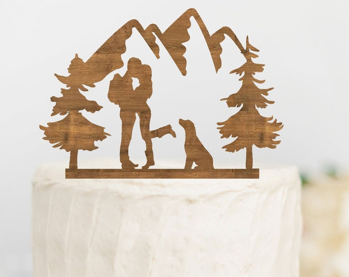 HIKING COUPLE with DOG Wood Wedding Cake Topper / Backpacking outdoor bride groom cake topper / camping cake topper