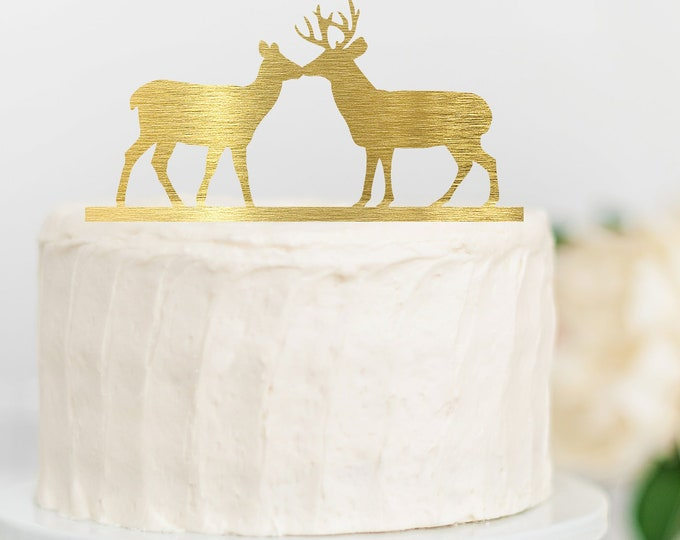 Rustic Deer Wood Wedding Cake Topper Hunting Cake topper / outdoor bride groom cake topper / camping cake topper / Outdoorsy Woods Couple