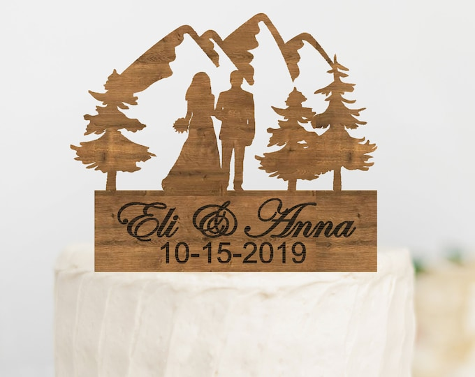 CUSTOM BRIDE GROOM Couple Wood Mountain Wedding Cake Topper / Mountain outdoor bride groom cake topper / Wedding cake topper