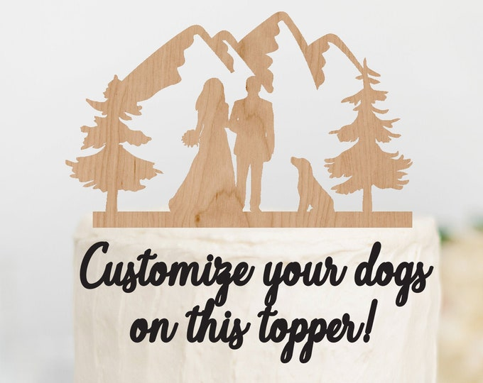 BRIDE GROOM Couple with DOG or Dogs Wood Mountain Wedding Cake Topper / Mountain outdoor bride groom cake topper / Wedding cake topper