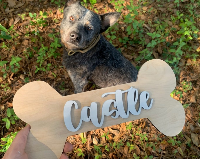 PERSONALIZED DOG BONE Sign with name Wood Sign Home Decor / Dog gift / Dog Lover / Gift for Dog / New Dog / Custom Dog  / Dog Adoption