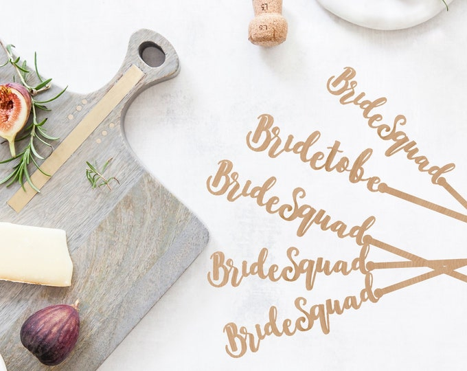 Bride and Bride Squad Wood Drink Stir Swizzle Sticks - SET OF 6 Dinner - Party Decoration Bachelorette Party Decor Engagement Party Decor