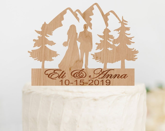 PERSONALIZED BRIDE GROOM Couple Mountain Wood Wedding Cake Topper / outdoor bride groom cake topper / Mountain Cake Topper